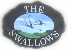Swallows - painted by Jean on a large oval natural sign