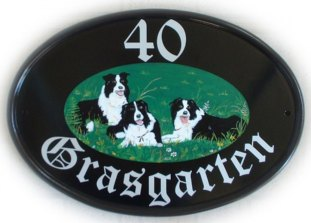 Three border collies - this sign was painted by Jean . The customer provided a jpg picture of her dogs by email. Font is called Old English