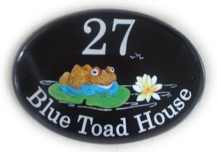 Blue Toad - The customer asked for a toad with a blue underbelly sat on a lily pad. The reason for the blue underbelly was that when they moved into their new home, they found a toad looking just like that because it had walked through some blue paint  that was spilled in the garage