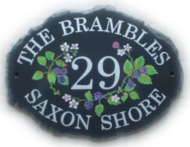 Rambling Brambles sign - Painted on a large natural oval base plaque. Painted by Jean Font is called Century Schoolbook