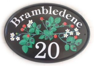 Brambles - Specimen painting of a rambling blackberry design showing  blossom, red & black berries - painted by Gerry