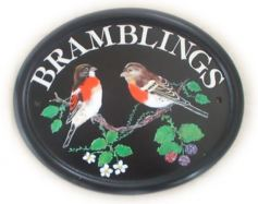 Brambling birds - painted by Jean on a large classic oval - artwork taken from an ornithology book