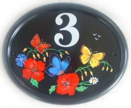 Butterflies & Wild Flowers - painted by Jean from her own design on a large classic oval plaque