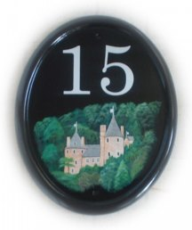 Castle Coch sign - A historic castle in Wales,  painted on a large classic oval plauque.