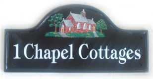 Chapel Sign - The customer asked for a simple red brick 'turn of the century' chapel. Painted by Gerry on a Large Mews House Plaque