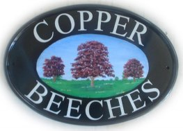 Copper Beeches - Gerry painted this sign on a New World classic oval
