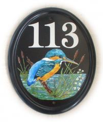Kingfisher - painted by Jean from her own design - painted on a large classic oval
