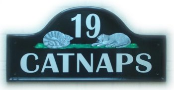 Two grey cats asleep - Painted on a Large Mews base plate. Painted by Gerry - font is called Britanic