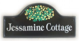 Yellow Jasmin flowers - The customer has yellow Jasmin in their garden and sent us some pictures of the blooms to go by.  Font is called Tiffany