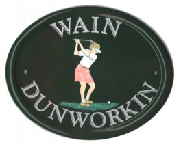 Lady golfer - customer ordered this plaque as a retirement present for a work mate in Thailand