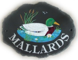 Mallard Duck - Painted on a large natural oval sign base. Font is called Tiffany Artist - Jean