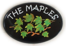 Autumn Maple leaves and seeds - painted by Jean on a New World classic oval sign th font was requested by the customer