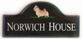 Norwich Terrier - Painted on a Large Mews plaque. Painted by Gerry,  artwork taken from a Kennel Club book showing dog breeds. Font is called Times Roman with All Capital Letters with the first letter for each word larger than the rest.