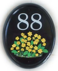 Primrose spray - The customer requested a lots of yellow primrose blooms with the house number. Painted by Gerry on a large classic oval base plaque in vertical format. Font is called Century Schoolbook.