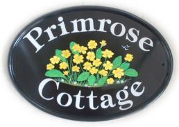 Primrose design - painted by Jean - on a New World plaque