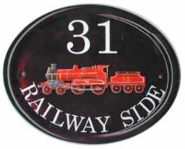 Red Steam Train - painted by Gerry on a Large Classic Oval  plaque - artwork found in a steam railway book