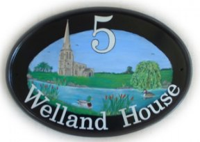 River scene sign - The customers asked for a river with a church, willow tree, bulrushes, mallard duck and grebe, together with the number and House Name. Painted by Gerry on a New World classic oval base plaque. font is Century Schoolbook