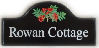 Rowan berries - Theis large mews sign was painted by Gerry. Font is called Times Toman
