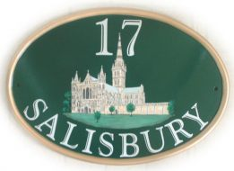 Salisbury cathedral - painted by Gerry on a GREEN New World classic oval with a gold rim. This plaque was ordered by a customer in Bermuda, artwork found on Google.com picture search