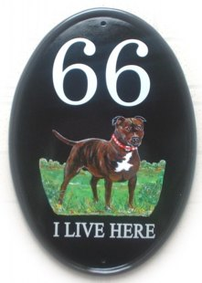 Staffordshire Bull Terrier - Painted on a New World classic oval sign in vertical format. Artwork was from a picture of a dog in a kennel club book. Font is called Century Schoolbook