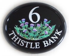 Thistles sign - another popular pictorial. This one was painted on a Large classic oval by Jean. Font is called Times Roman.