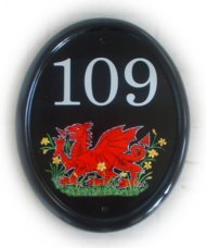 Welsh dragon in a field of Daffodills - painted on a large classic oval sign