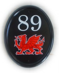 Welsh dragon - painted on a large classic oval in vertical format