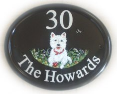 West Highland Terrier - painted on a large classic oval base sign from a photo provided by the customer. Artist  - Jean,  Font -  Times Roman