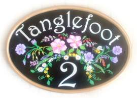 Tangled Woodland flower spray and bumblebee - painted on a new world classic oval base plaque by Jean