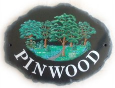 Woodland - Painted on a Large Natural Oval plaque by Gerry