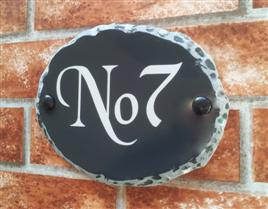 Small Rustic Oval House Number
