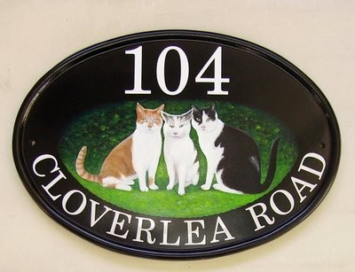 house sign with black & white cat