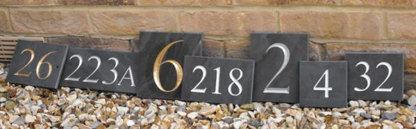 Solid slate house number signs - engraved